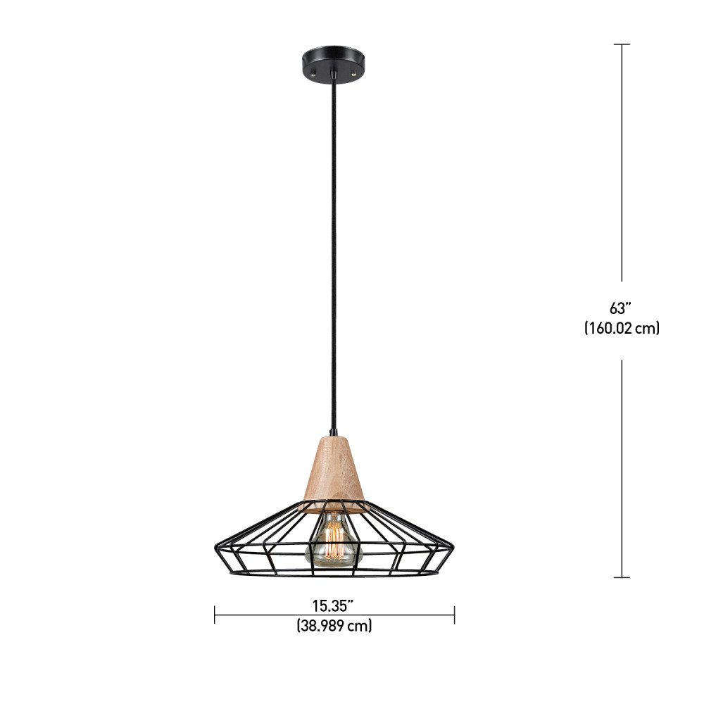 Novogratz loras 1 light caged pendant black finish wood accent amazon com