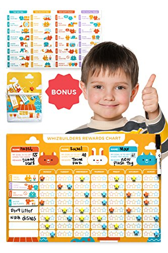 Chore Chart for Kids - Magnetic Reward Calendar Board - Dry Erase Schedule Responsibility Charts - Toddler Behavior - Wall Sticker Rewards Magnets - Multiple Toddlers Family - Potty Training Planner
