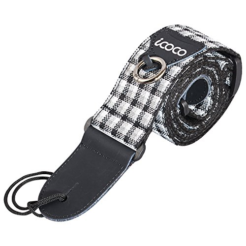icoco S-9 Cotton Jeans Lattice Pattern Guitar Strap,Weave Cotton and Linen Material with Capo Ring and Pick Pocket Design For Electric Bass Banjo Dobro Genuine Leather Ends,3pcs Picks Dobro Capo