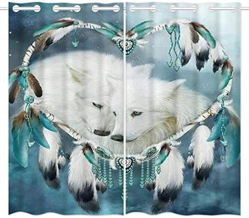 HommomH 42 x 84 inch Curtains 2 Panel Grommet Top Darkening Blackout Room Wolf Dream Catcher Review