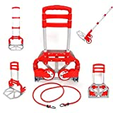 Aluminium Portable Folding Collapsible Push Truck Hand Trolley Luggage Hand Cart and Dolly 176Lbs/ 80Kg Ideal for Home, Auto, Office,Travel Use (Red)