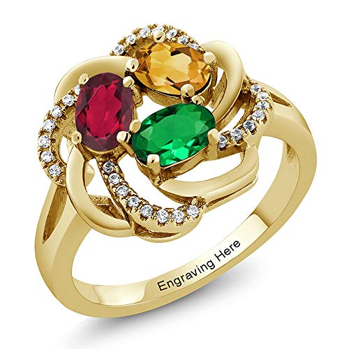 Gem Stone King 925 Yellow Gold Plated Silver Promise Customized and Personalized Build Your Own 3 Birthstone For Her Women's Engagement Flower Blossom Ring (Available in size 5,6,7,8,9)