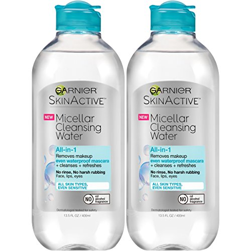 Garnier SkinActive Micellar Cleansing Water, For Waterproof Makeup,  13.5 Fl Oz, 2 Count (Facial Water Cleanser)