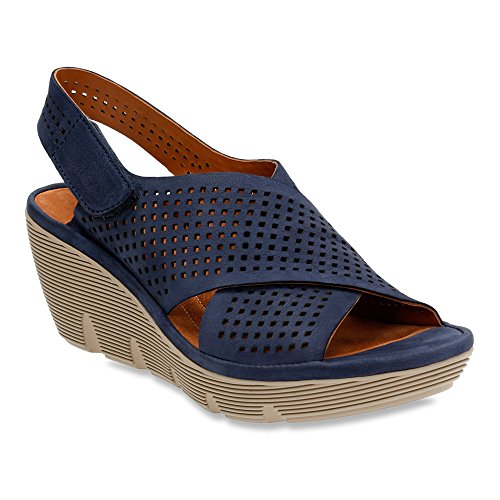 Clarks Narrative Clarene Award Da Donna Open Toe In Pelle Con Zeppa Sandalo Blu