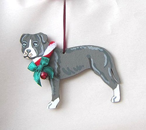 hand painted pitbull terrier blue wbow wood christmas ornament artist original