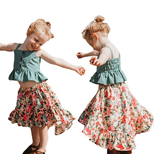 (Toddler Kids Baby Girls Skirt Set Green Strap Top Floral Skirt Dress Outfits Clothes Bohemian Beach Dress Summer (18-24 Months, Green top+Floral Skirt)