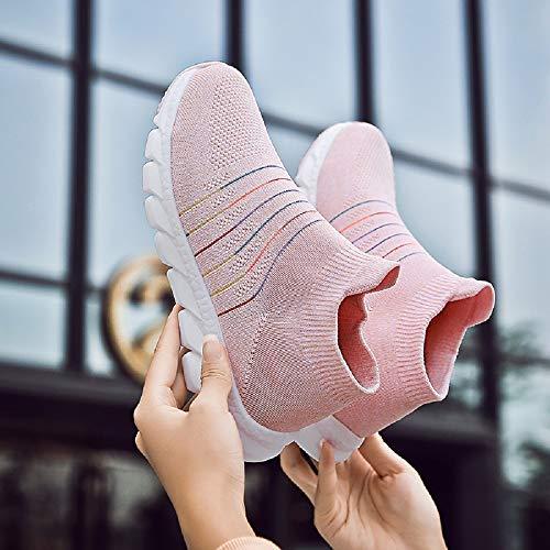 Baskets Mode Femmes Marche Douces Légères De Et Rose Chaussures axAngA5w