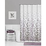 Maytex Sylvia Printed Faux Silk Fabric Shower Curtain, Purple