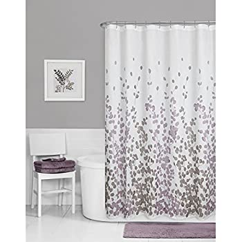 Superieur Maytex Sylvia Printed Faux Silk Fabric Shower Curtain, Purple