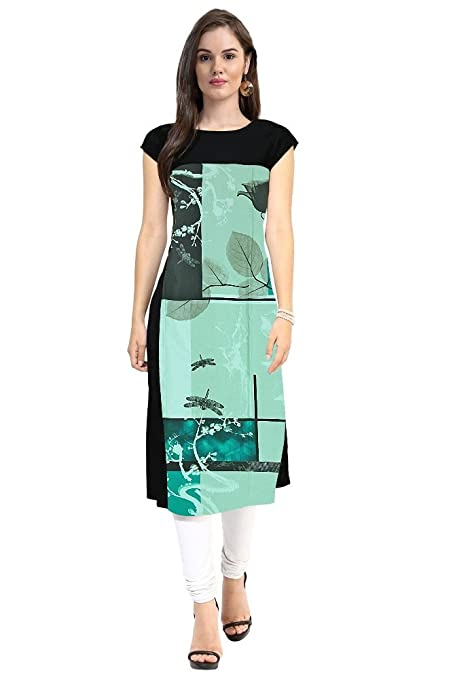 Janasya Women's Black Digital Printed Crepe Kurti Kurtas & Kurtis at amazon