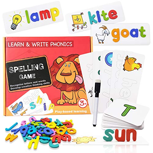 XUNPAS Spelling Game Toys for Kids,Sight Words Games Educational Learning Matching Wooden Letter Words Puzzles Games Toys for Kids Boys Girls Age 3 4 5 6 Year Old Years Old