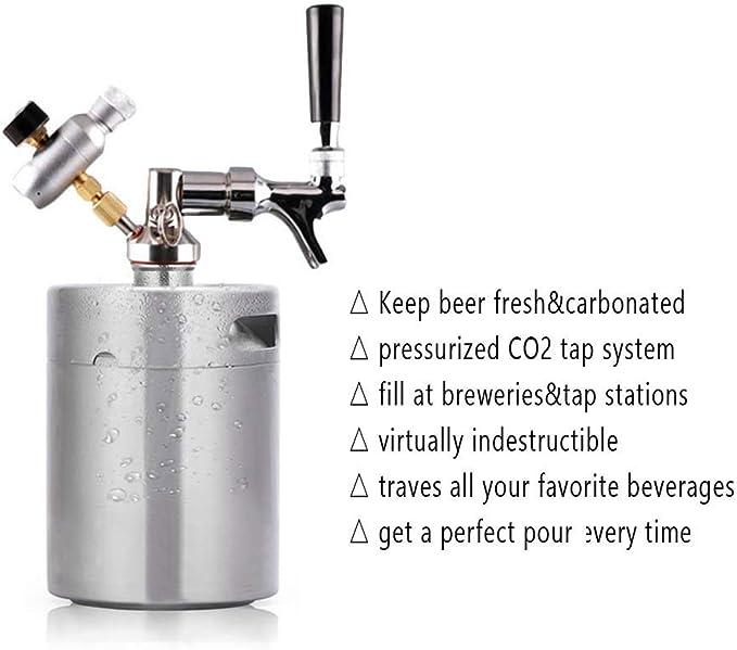 3.6L Mini Edelstahlfass Bierfass mit Wasserhahn Druck Startseite Brewing Craft Bierspender Growler Set Mini Fass Bier Homebrewing Home Brew