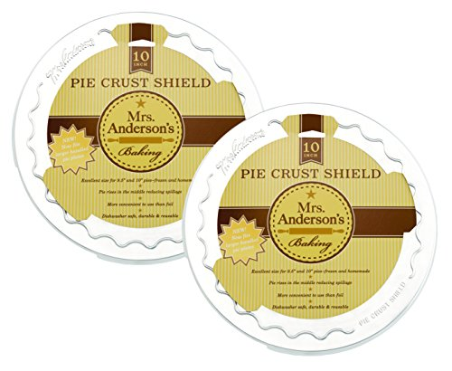 Mrs. Anderson's Baking Pie Crust Protector Shield, Fits 9.5-Inch and 10-Inch Pie Plates, Set of - Aluminum Crust