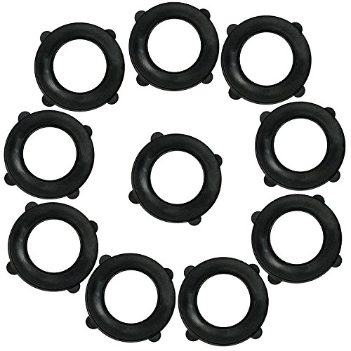 Garden Hose Washers Pack of 10. Made from Heavy Duty Rubber. Self Locking Tabs Keep Washer Firmly Set Inside ()