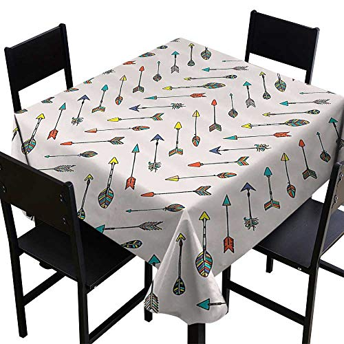 SKDSArts Tablecloth Factory Arrow Decor Collection,Colored Arrowheads and Arrow Tails Pattern Decorative Art Image,Orange Yellow Turquoise,W36 x L36 Table Cloth Cover Wedding Event Party ()