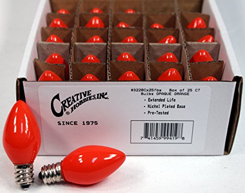Creative Hobbies Box of 25 Light Bulbs -C7, Steady Burning - Opaque Orange - 7 Watt, Extended Life, Nickel Plated Candelabra Base -Great for Night Lights, Decorative Lights and Halloween Strings (C7 Lightbulbs compare prices)