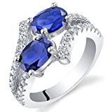 Forever Us Two Stone Created Blue Sapphire Sterling Silver Ring Size 5