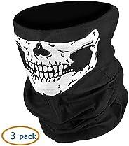 VIGOLA 3 Pack Call of Duty Black Skull Face Tube Mask Neck Gaiter Dust Shield Seamless Bandana Balaclava