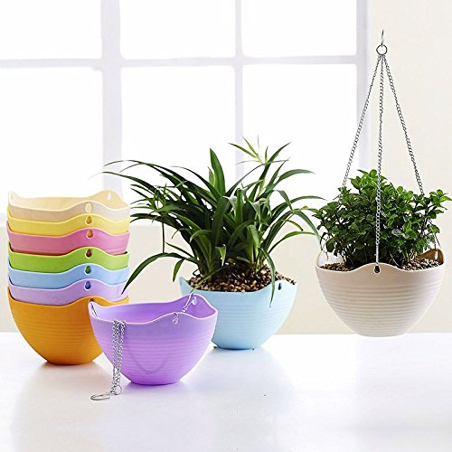 Mkono 8 Inch Hanging Flower Plant Planter Basket for Plants Pot Holder with Chain 1pcs-White (Plant Containers Hanging)
