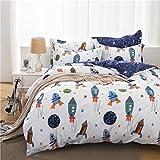 JIBUTENG Home Textiles Cotton Universe Airship Duvet Cover Set,Space Adventure Beding Set ,Blue Sheet Set Boys Full Size 4Pcs (Full, Flat sheet)