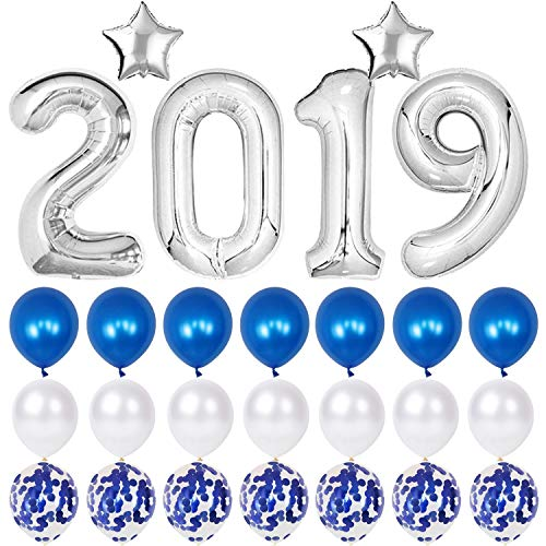 2019 Balloons Blue Confetti Balloon - Blue Graduation Party Supplies 2019, Large 40 inch 2019 Balloons with Blue Latex Balloons and White Peal Balloons for Party Decorations