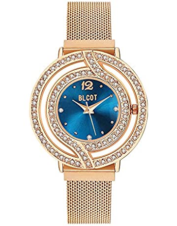 ee53e66d9 BLCOT Woman`s Crystal Accented Magnetic Buckle Mesh Belt Rose Gold Quartz  Bracelet Watch