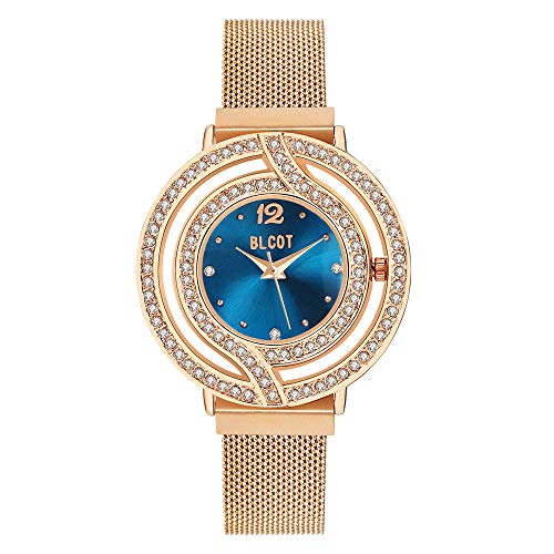 BLCOT Woman`s Crystal Accented Magnetic Buckle Mesh Belt Rose Gold Quartz Bracelet Watch (Blue) ()