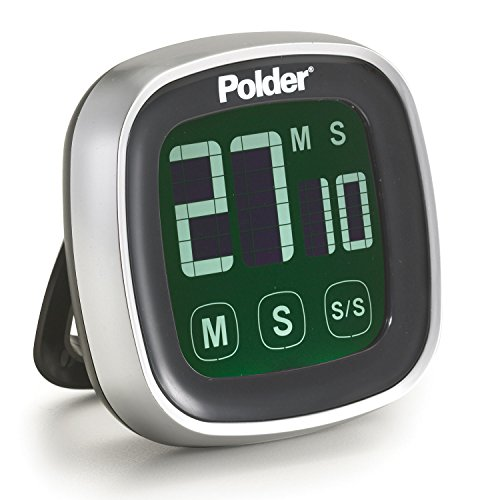 Polder TMR-899-95 Digital Touch Screen Kitchen Timer with Backlit Display, Black