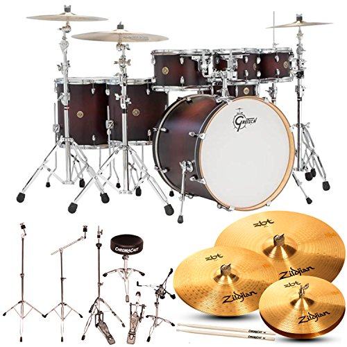 Gretsch Catalina Maple Satin Dark Cherry Burst 7-Pc Shell Pack w/ Hardware, Throne, Cymbals, and ChromaCast 5A Drumsticks (Professional Drum Set)