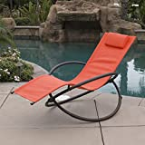 Cheap Belleze Orbital Foldable Zero Gravity Lounger Chair Rocking Furniture Outdoor Chaise, (Orange)