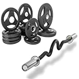 XMark Fitness Combo offer Olympic Super Curl Excercise Bar With Premium Quality Rubber Coated Tri-grip Olympic Plate Weight Package (XM3683Black-XM3377BAL115)