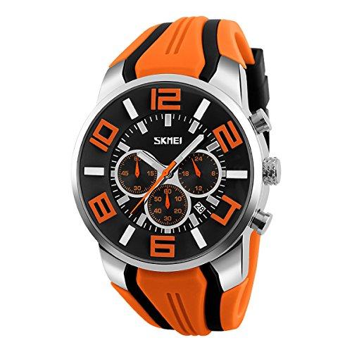 Men's 3ATM Resistant, Japan Quartz, Chronograph, Date Calendar Watch With Bike-Helmet Style Rubber (Date Orange Markers)