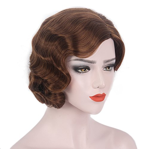 STfantasy Finger Wave Wig Ombre Brown Bob Short Curly for Women Cosplay Costume Party Retro Hair (Flapper Wigs And Accessories)