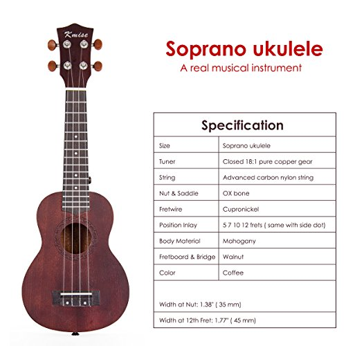 Ukulele Soprano Mahogany Ukelele Uke With Beginner Kit ( Ukele Gig Bag Tuner Strap String Instruction Booklet ) (21 Inch Special Offer) - Image 8