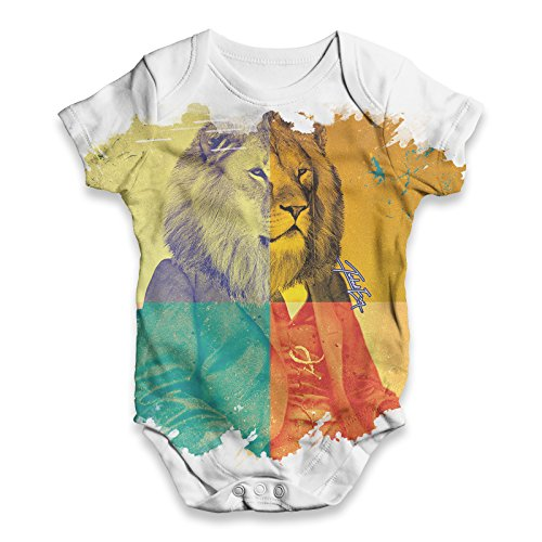 Twisted Envy Baby Unisex The King Lion ALL-OVER PRINT Bodysuit Baby Grow Baby Romper 6 - 12 Months White by TWISTED ENVY