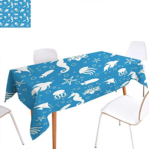 familytaste Animal Dinning Tabletop Decoration Mix of Seahorses Pipefishes and Others Swimming Diving Deep Zone Summertime Table Cover for Kitchen 70
