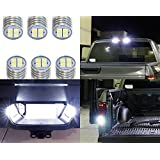 iJDMTOY Complete 6pcs Super Bright Xenon White LED License Plate, Backup and High Mount Clearance Lights Combo Kit For 2007-2018 Dodge RAM 1500 2500 3500 w/Reflector Headlamps