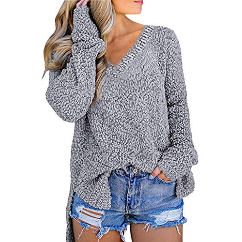 Women VigorY Casual Long Sleeve V Neck Chunky Slit Knit Pullover Sweater Tops S-XL Gray