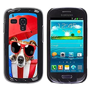 Caucho caso de Shell duro de la cubierta de accesorios de protección BY RAYDREAMMM - Samsung Galaxy S3 MINI NOT REGULAR! I8190 I8190N - Dog Beach Sunglasses Red Umbrella Sea Summer