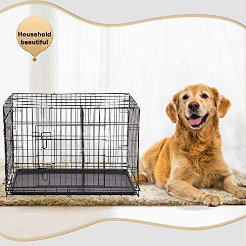 (Dog Crate Dog Cage Pet Crate 42 Inch Folding Metal Pet Cage Double Door W/Divider Panel Dog Kennel Leak-Proof Plastic Tray Wire Animal Cage)