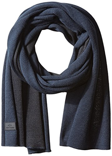Armani Exchange Men's Knitted Multicolor Scarf, Navy/Black, One Size
