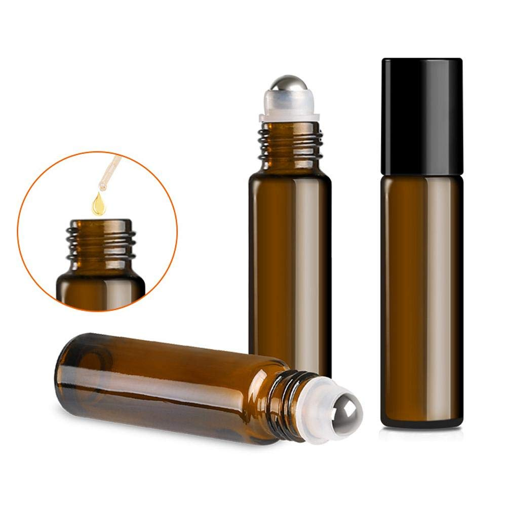 Glass Roller Bottles 12pcs Refillable Container For Essential Oils Aromatherapy Fragrance Ideal Home Travel Use Rollerball Vials 10ml Bottle Oil Perfume Cosmetic Tool Comaie®