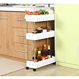 AIYoo Slide Out Storage Tower Rack,3-Tier Gap Kitchen Slim Mobile Shelving Unit Organizer Universal Wheels and Hook,Heavy Duty Pantry Storage Rack for Narrow Spaces Laundry, Bathroom&Kitchen