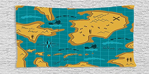 Cotton Microfiber Bathroom Towels Ultra Soft Hotel SPA Beach Pool Bath Towel Island Map Historical Adventure Map Pattern with Sail Boats Direction Route Track Graphic Work Orange Blue