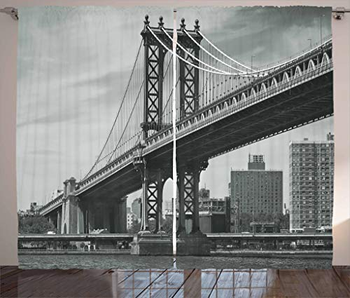 Ambesonne New York Curtains, Bridge of NYC Vintage East Hudson River Image USA Travel Top Place City Photo Art Print, Living Room Bedroom Window Drapes 2 Panel Set, 108 W X 84 L Inches, Grey ()