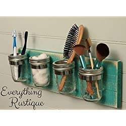 Mason Jar Organizer, Bathroom Storage, Mason Jar Decor, Mason Jar Bathroom Set, Bathroom Organizer, Shabby Chic
