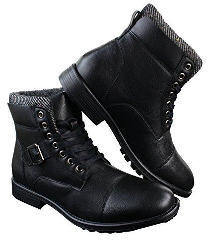 fibbie Stivali con uomo lacci calda da da motociclista militare e lana in fodera nera sintetica Elong zwqxdYX1d