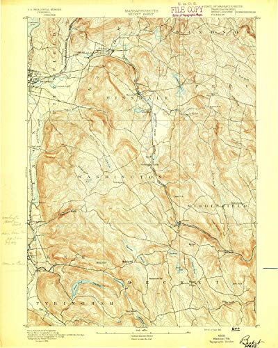 (YellowMaps Becket MA topo map, 1:62500 Scale, 15 X 15 Minute, Historical, 1893, 19.8 x 15.8 in - Tyvek)