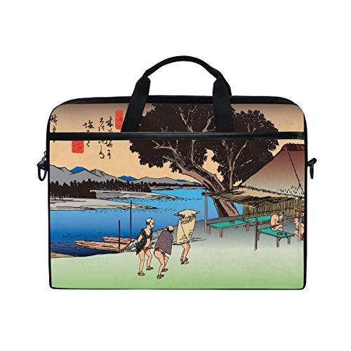 (Ukiyoe Ukiyo-E Print Japanese Art 14 Inch Laptop Shoulder Messenger Bag Case Sleeve Briefcase with Handle for Women Men)