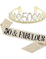 "Flunyina""50 Fabulous"" 50th Birthday Set for Women Gold Gillter Tiara Birthday Sash Glitter Gold Crown and Birthday Gifts Glitter Birthday Sash for Birthday Party Favors (50)"